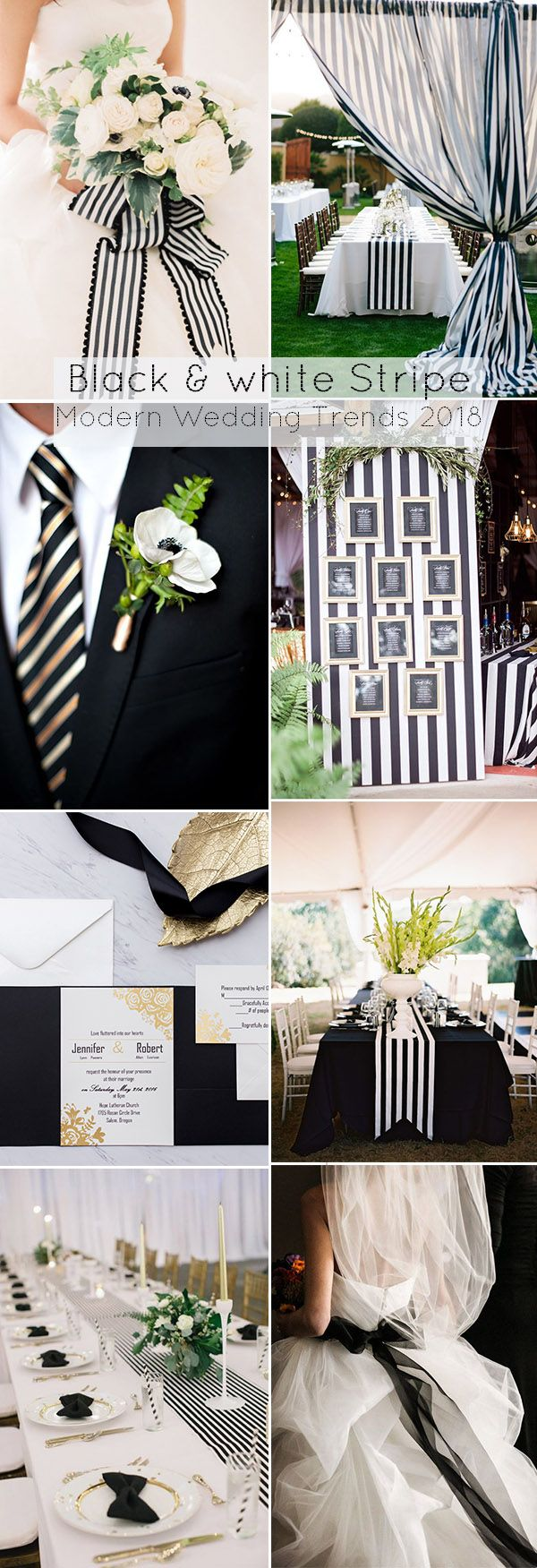 Black and White Striped Wedding Ideas for 2017 and 2018 Trends