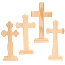 Bulk unfinished wood craft crosses 9 at for Wooden craft crosses wholesale