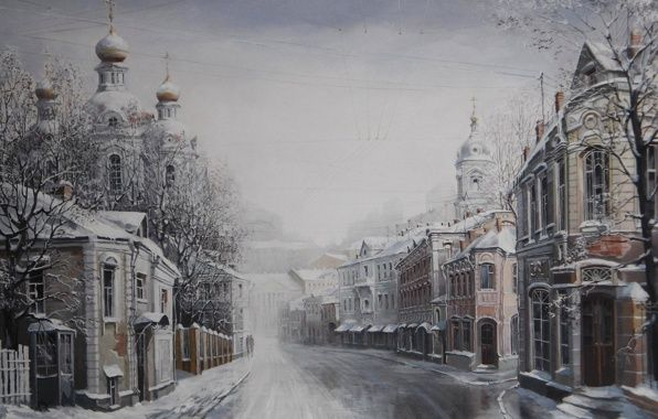 Wallpaper starodubov alexander, merry christmas! painting, winter home