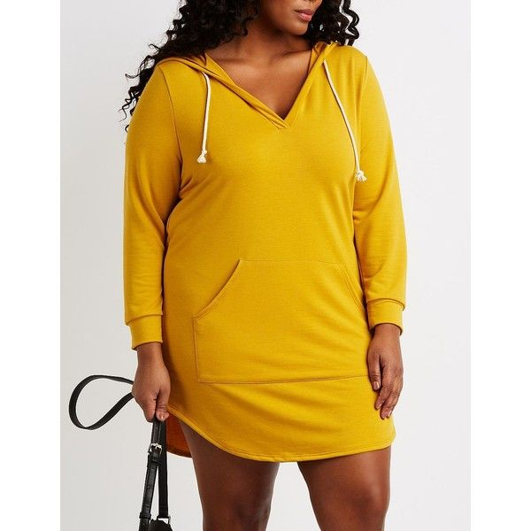 Charlotte Russe Hooded Sweatshirt Dress ($25) ❤ liked on Polyvore featuring plus size women's fashion, plus size clothing, plus size dresses, mustard, yellow dress, hooded dresses, long sleeve hooded dress, yellow sweater dress and sweater dress
