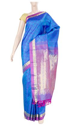 Pure handloom silk saree with half fine zari