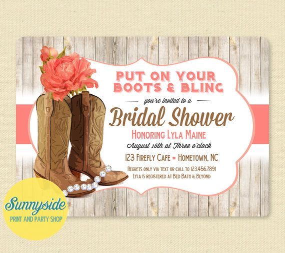 Put on your boots & bling! Printable bridal shower invitation, you choose flower & colors! Shown with coral peony.