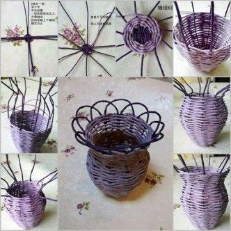 DIY weaved flower vase. Follow us: www.facebook.com/fabartdiy