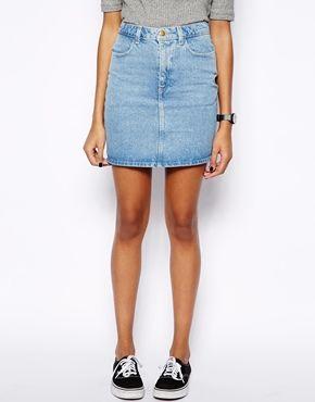 Image 4 of American Apparel High Waist Denim Skirt