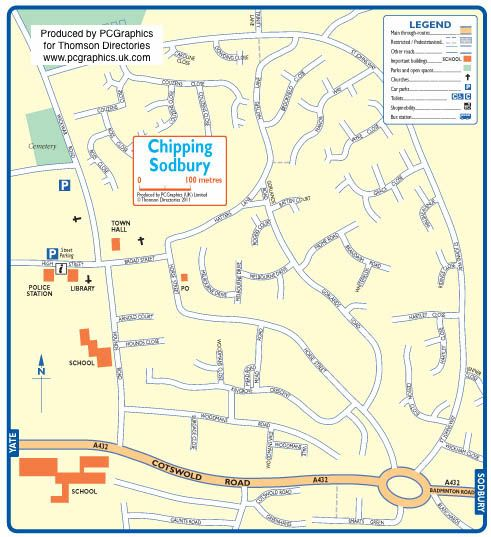 Map of Chipping Sodbury created in 2011 for Thomson Directories. One of approximately 350 UK town and city maps produced royalty free. Find out more...  http://www.pcgraphics.uk.com   or read our blog...    http://www.pcgraphics.uk.com/blog/