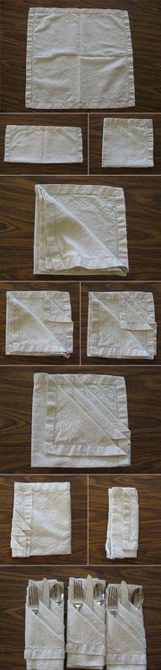 Folded Napkin Holder (napkin,flatware,fold,clever,dinner,setting,diy)