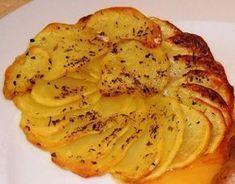 Voici une recette de pommes de terre vraiment sympa! Pour accompagner vos viandes, c'est top! Et puis c'est joli, ça a de la gueule. Des patates coupées finement et badigeonnées de beurre clarifié, salées, poivrées, disposées en rosace et hop au four...