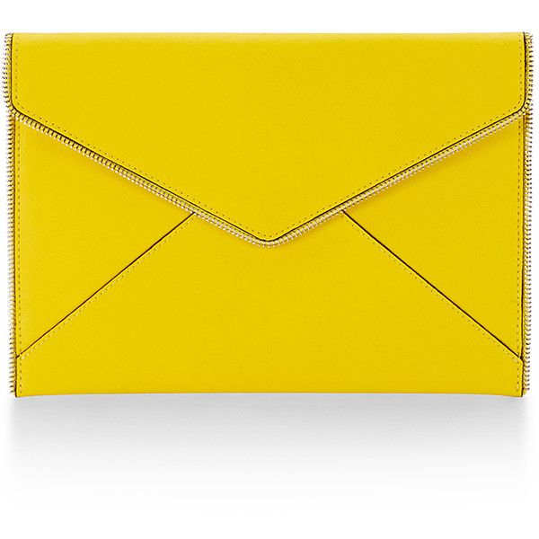 Rebecca Minkoff Leo Clutch ($95) ❤ liked on Polyvore featuring bags, handbags, clutches, yellow handbag, party handbags, party purses, yellow purse y yellow clutches