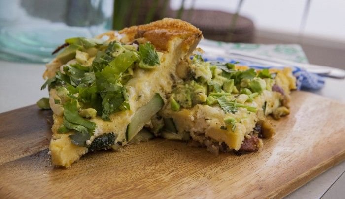 Chorizo, Chickpea and Veggie Couscous Frittata with Smashed Avocado | Good Chef Bad Chef