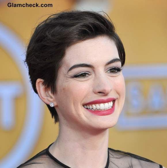 Anne Hathaway — back brushed pixie hairstyle