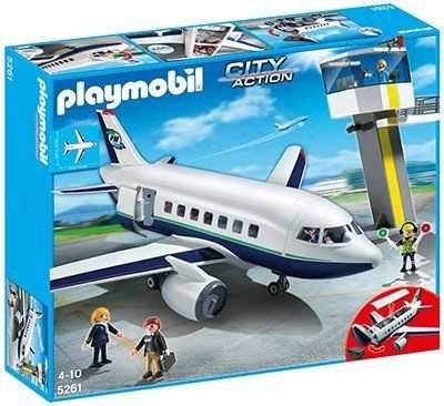 "Cargo and Passenger Aircraft by Playmobil. $139.00. 23.2 x 24.8 x 9.4 in (LxWxH).. Take to the skies with the Cargo and Passenger Aircraft. Cargo can be loaded by folding up the front of the aircraft, and the roof of the plane is removable, making it easy to play with the figures and rearrange seating for up to five passengers. Two figures can also be seated in the cockpit through the hinged roof to wait for the ""all-clear"" from the air traffic control tower b..."