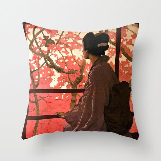 Asian pillow Asian decor Japanese kimono by PictorialHistory