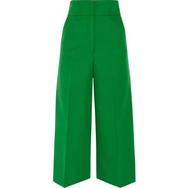Marni Cropped gabardine wide-leg pants ($665) ❤ liked on Polyvore featuring pants, capris, trousers, wide leg cropped pants, cropped trousers, marni, green trousers and gabardine pants