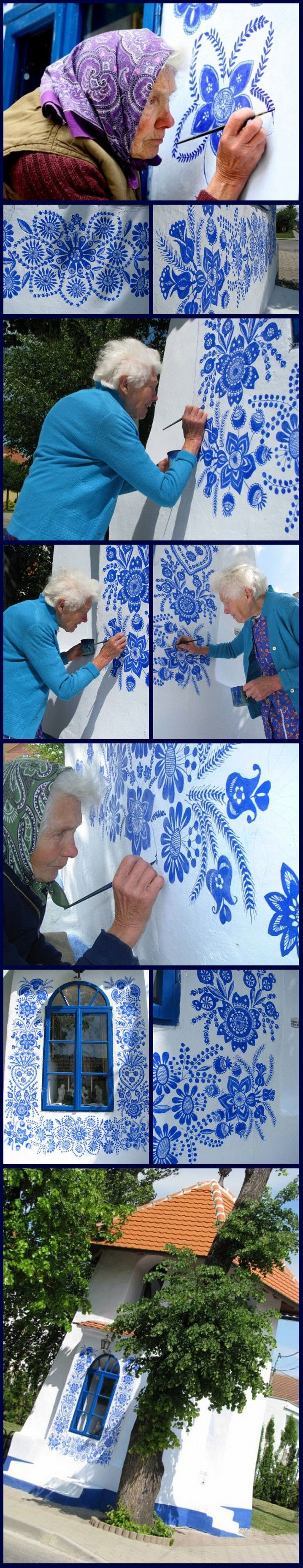 Anežka Kašpárková (85 years old) live in Louka, Czech Republic and every year renews the painting of the chapel of his village.
