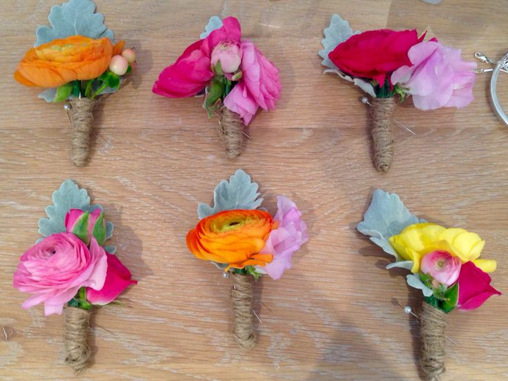 Bright bridals. Buttonholes designed by The Lazy Flamingo Flower Co. Email: thelazyflamingoflowerco@gmail.com