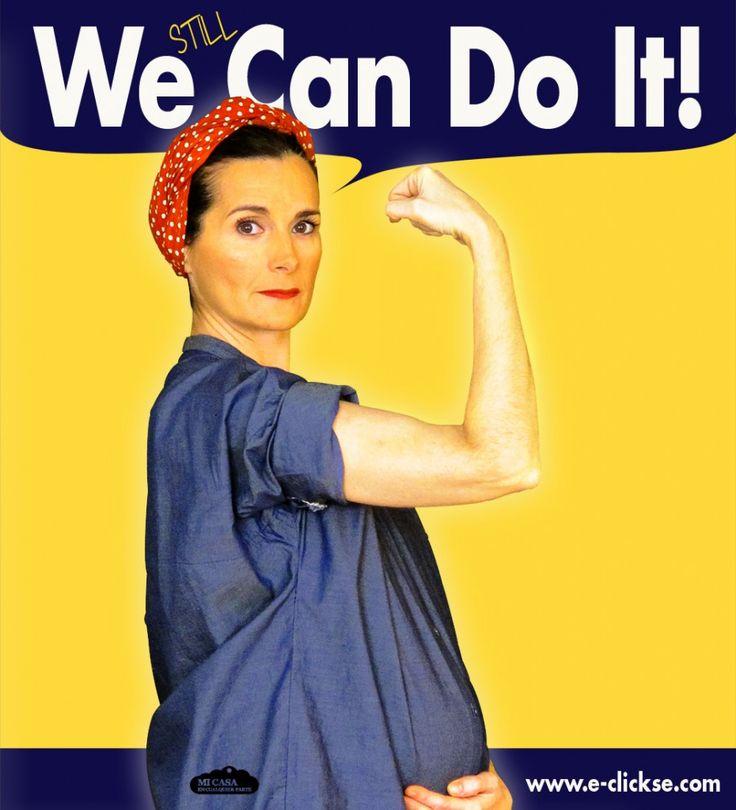 We can do it (pregnant version). We can do it cartel (versión embarazo). Rosie the riveter. Rosie la remachadora. 8 de marzo Dia de la Mujer | Blog www.micasaencualquierparte.com