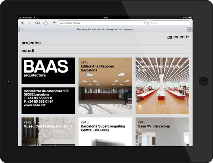 Mobile website and identity design for Baas Arquitectura created by Clase BCN.