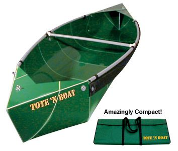 Tote-N-Boat Folding Canoe. Weighs less than 32 pounds, 10 feet long36 inches wide at center. Easy to assemble it appears