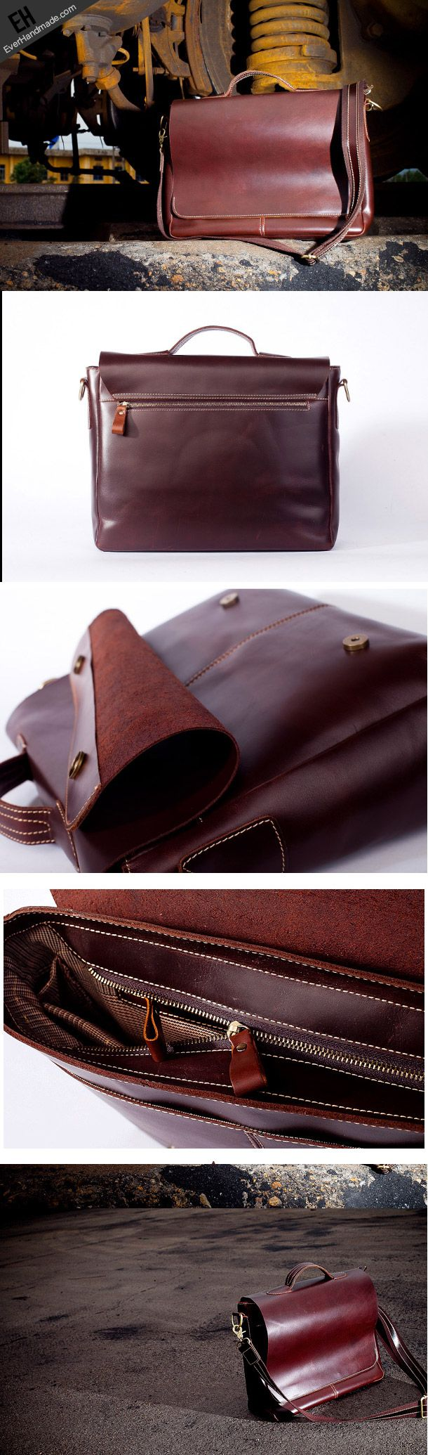 Handmade leather men Briefcase messenger vintage shoulder laptop