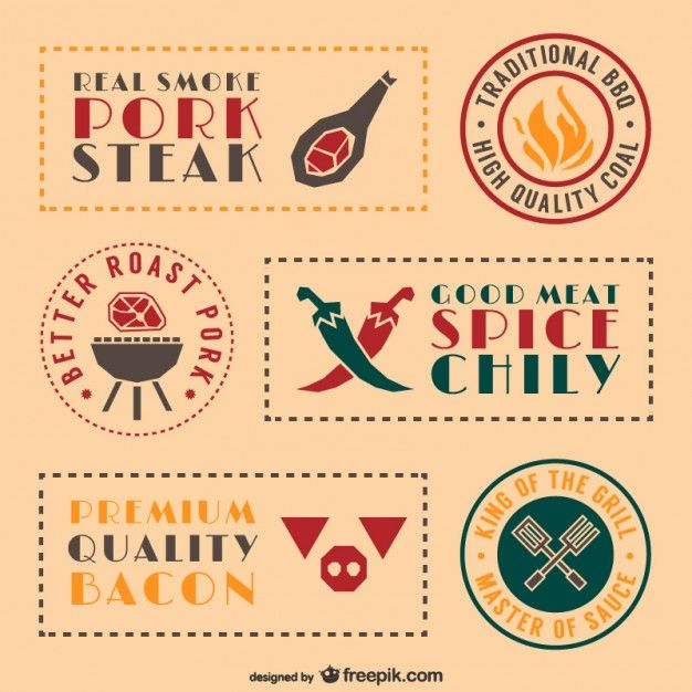 Retro barbecue food stickers and labels set azabache