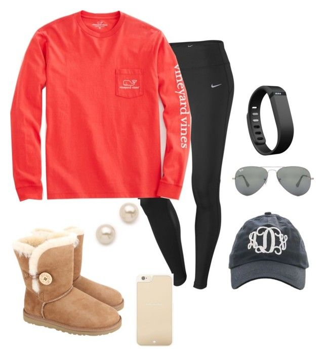 """Long car ride"" by preppy13 ❤ liked on Polyvore featuring NIKE, UGG Australia, Vineyard Vines, Kate Spade, Juliet & Company, Ray-Ban and Fitbit"