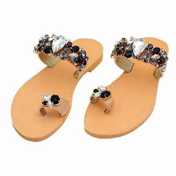 Eros Crystal Black - flat sandal