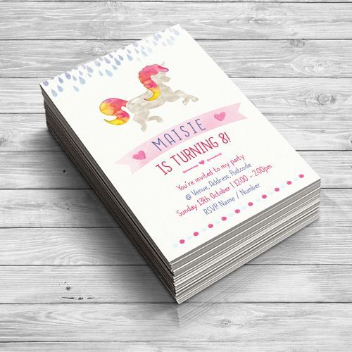 Magical Unicorn Personalised Party Invitations