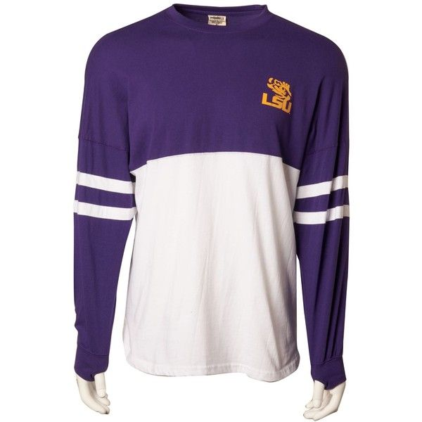 Royce Apparel Inc Women's Long-Sleeve LSU Tigers T-Shirt ($50) ❤ liked on Polyvore featuring tops, t-shirts, tiger t shirt, white t shirt, tiger shirt, longsleeve t shirts and white tiger t shirt