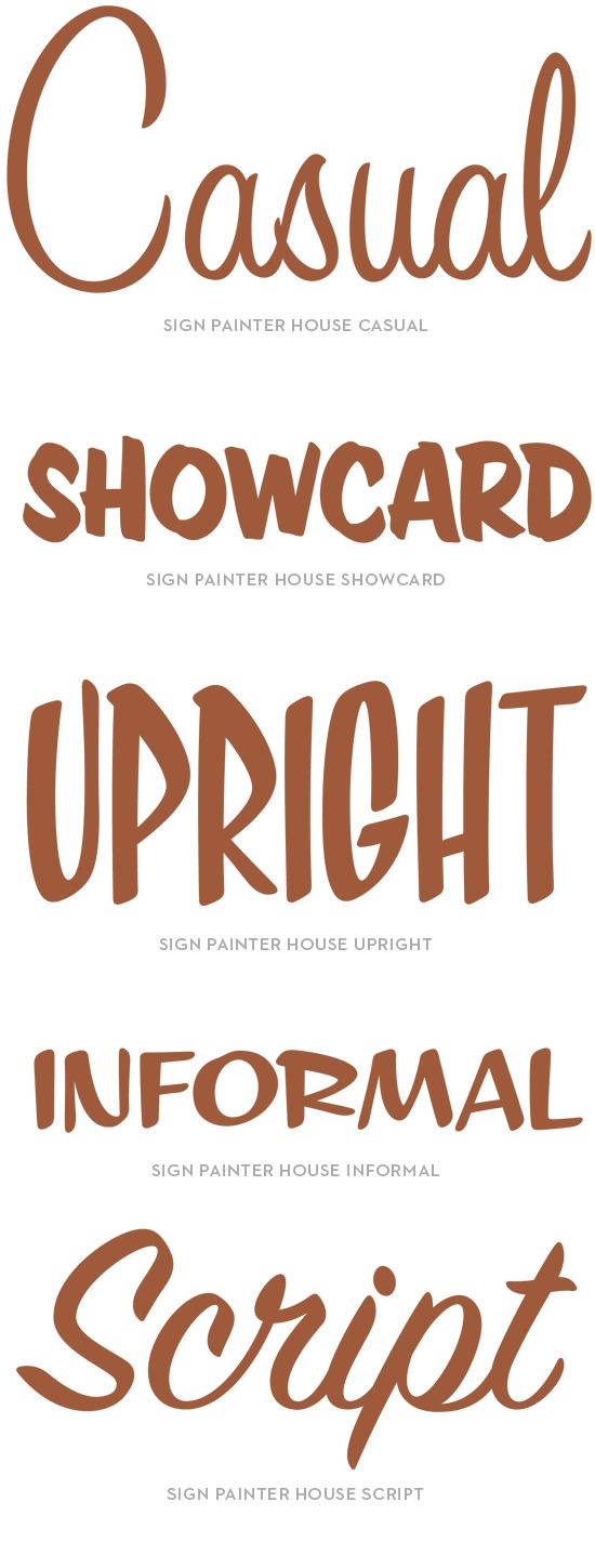 House Industries, Sign Painter, Specimen, Casual, Showcard, Upright, Informal, Script
