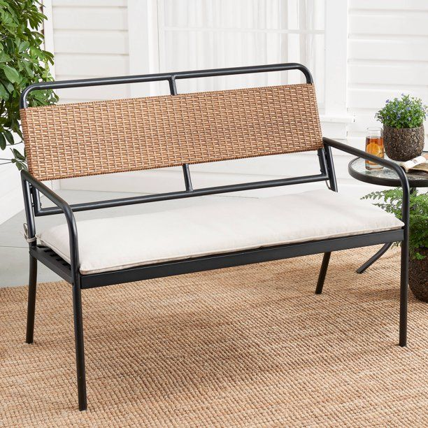 Mainstays Holcomb Outdoor Metal And Wicker Bench Walmart Com In 2020 Outdoor Furniture Comfortable Seating Patio Loveseat
