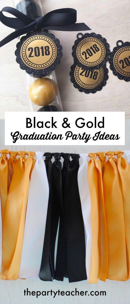 Einfache Black & Gold-Abschlussfeier-Dekorations-Ideen