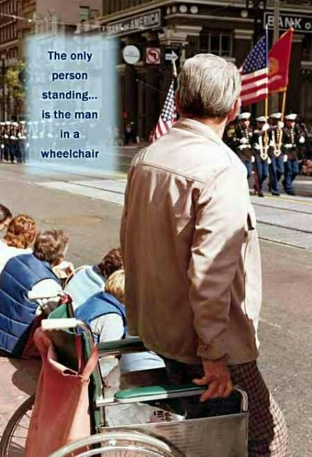 The Only One Standing...  So true. My mom always made us and now I make mine stand up to show respect.