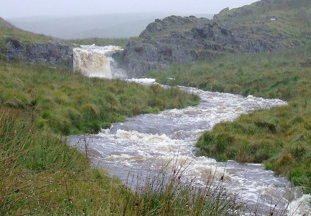 The Afon Camddwr and waterfall near Nantymaen, Ceredigion