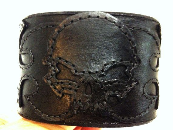 Skull and flames black leather cuff  wide by ChristyKeysCreations, $32.00