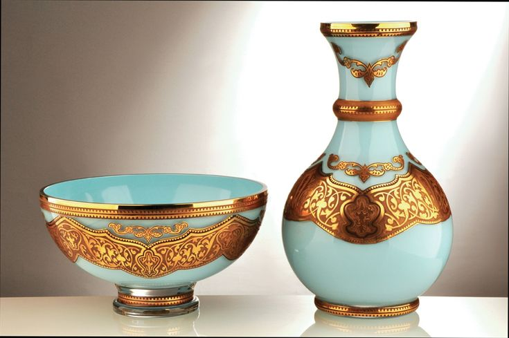 """Historic Art Glass Abi Collection  Blue glass Bowl ($257) and Vase ($299) hand decorated with 24 Karat Gold design Bowl 5 1/2""""H x 9""""W Vase 12""""H x 7""""W"""