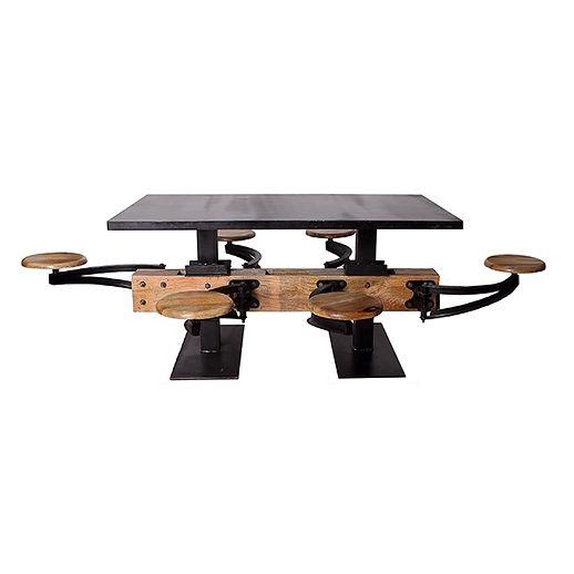 Table à dîner 6 places style industriel dessus en métal
