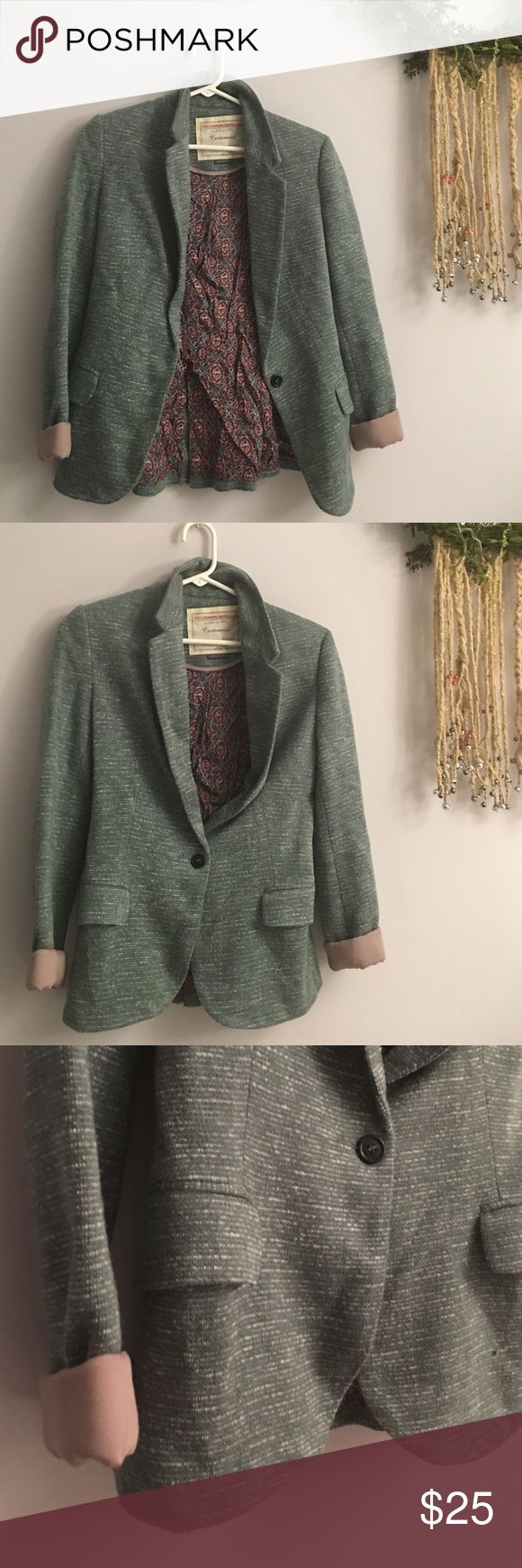 Anthropologie Sweet Mint Blazer Cartonnier. Green with white thread piping. Paisley lining. Structured but waist jacket. Beautiful and professional. Perfect to kick up your spring professional wardrobe! Anthropologie Jackets & Coats Blazers