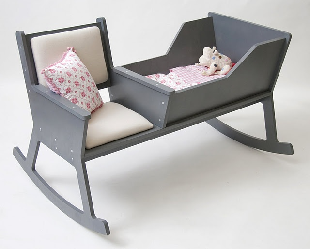 Fabulous idea for a chair/crib that has a very old school, yet new feel