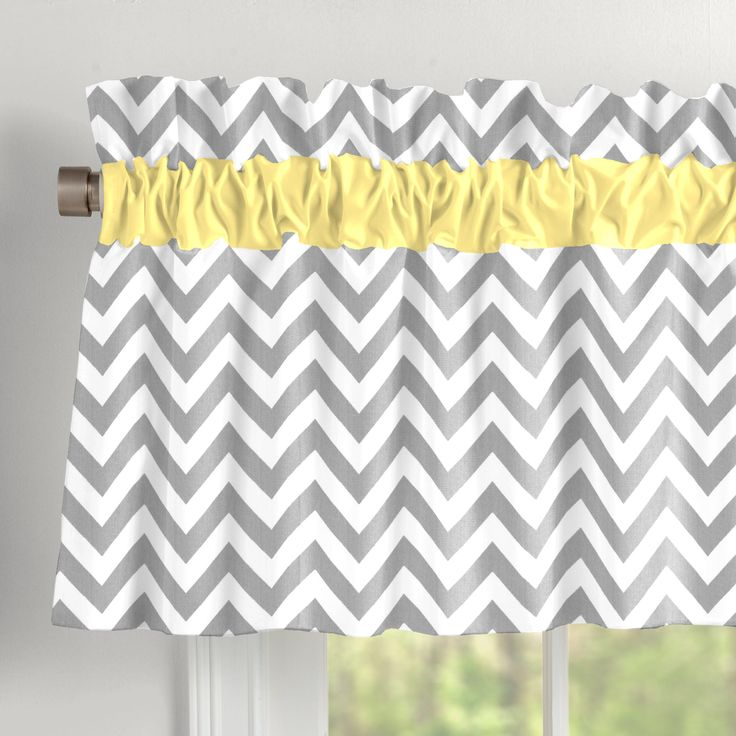 "Gray and Yellow Zig Zag Window Valance Rod Pocket from Carousel Designs.  Top off your window fashionably with our balloon style window valances. Can drape straight down or be stuffed to give the balloon effect. Measures approximately 84"" x 18""."
