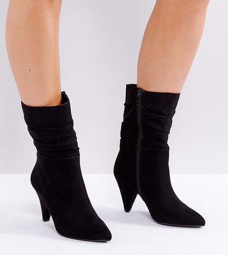 New Look Wide Fit Slouch Cone Heeled Boot - Black