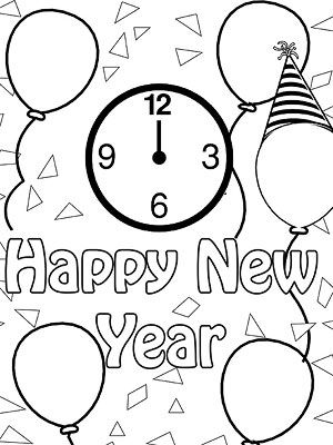 Printable Winter Coloring Pages: New Year's Celebration (via Parents.com)