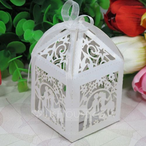 Exquisite Lovers Laser Cut Favor Boxes With Ribbons (Set of 12) (050026307)