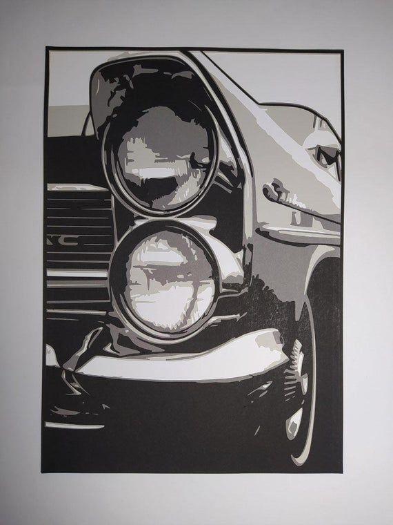 4 layer Cadillac papercut template lasercut pattern Instant download 1960 classic car stencil template. layered paper cutting