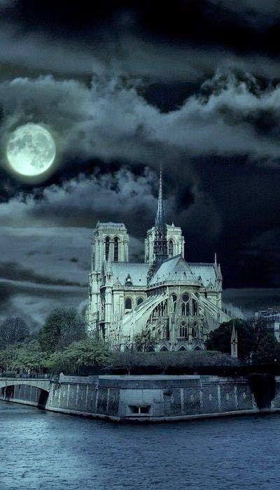 Cathédrale Notre-Dame de Paris on an eerie night.