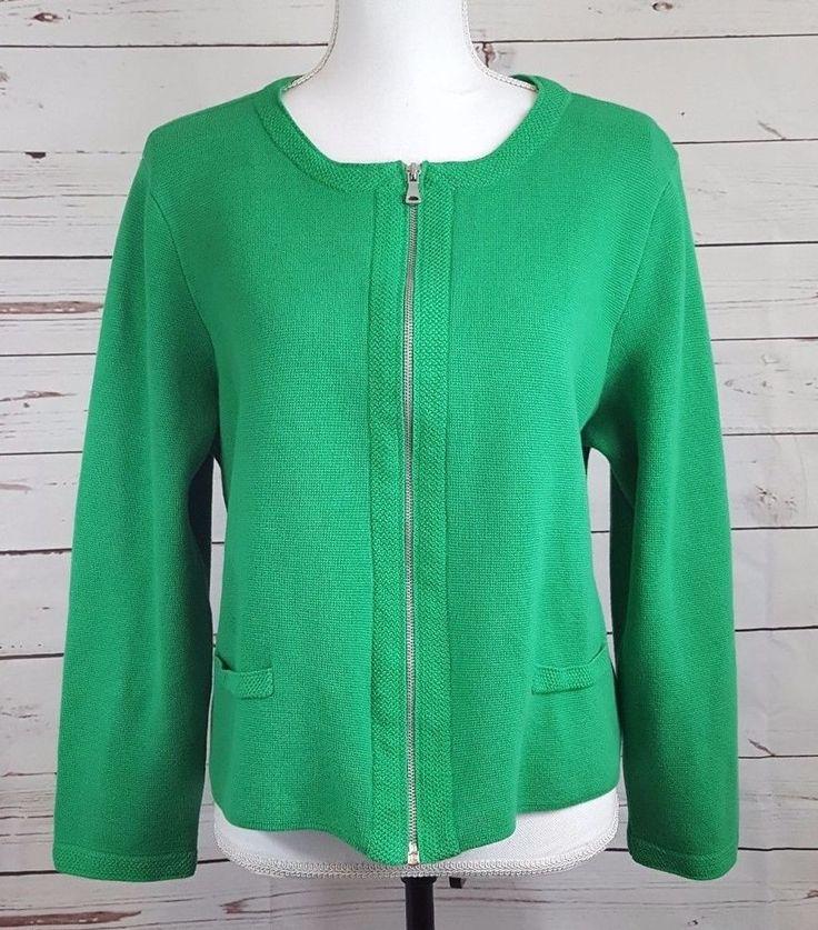 Talbots Petites Womens Knit Sweater Heavy Zip Up Pockets Size Large Petite Green #TalbotsPetites #Cardigan #Jacket #womensapparel #apparel #fashion #style #sweaterweather #ebayfashion #ebay