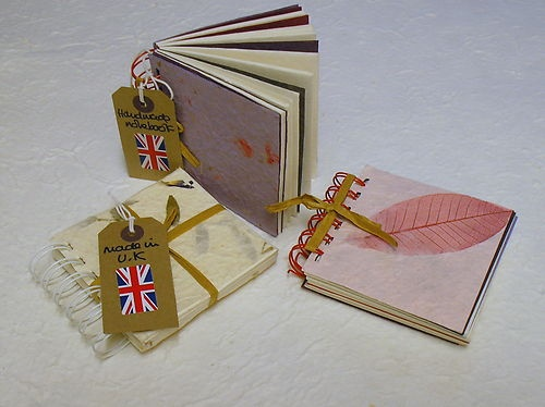 3 PACK 10x10cm HANDMADE PAPER inc pages EXCLUSIVE NOTEBOOK made in UK CRAFTY COW