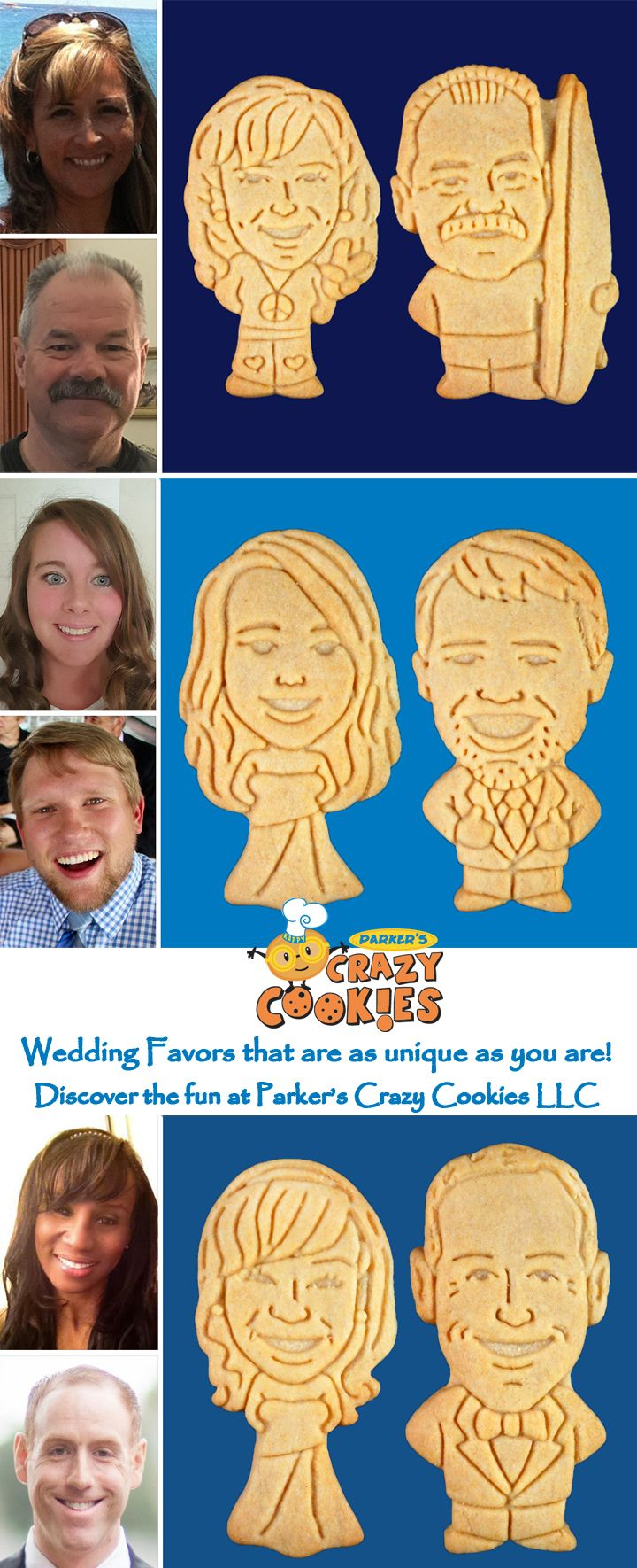 Unique Wedding Favor Ideas!! Create custom cookies of the bride & groom for your wedding day! Parker's Crazy Cookies, the leader in unique edible wedding favors!! Discover the magic at www.parkerscrazycookies.com. As seen on the Today Show & Food Network!