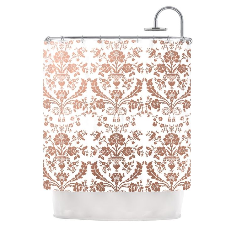 KESS Original Baroque Rose Gold Abstract Floral Shower Curtain From Kess InHouse
