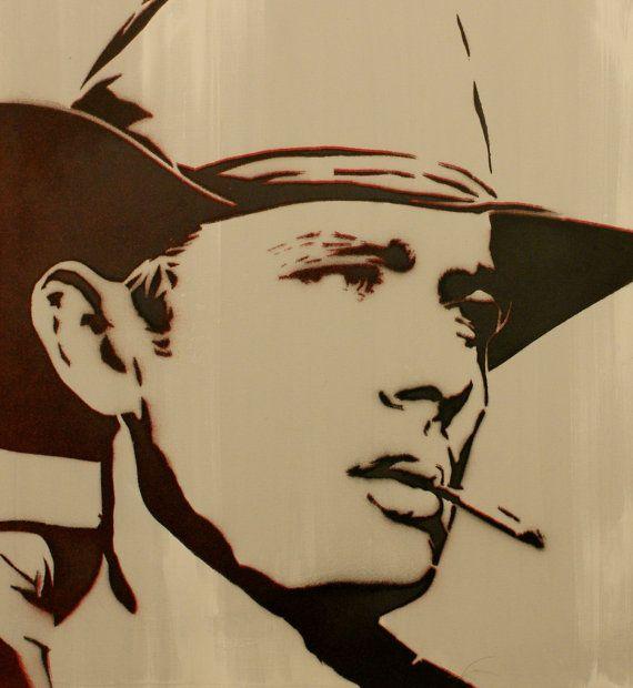 JAMES DEAN PORTRAIT 16x16 Original Painting on Canvas Graffiti and Pop Art Inspired Vintage Hollywood Cowboy Artwork on Etsy, $59.00