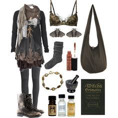 Dark Mori - Forest Cottage Witch by bloodmoonsuccubus on Polyvore featuring Mode, AllSaints, H&M, Agent Provocateur, River Island, Cooper by Trelise, Sophia Kokosalaki, Mimco, Cutuli Cult and NYX